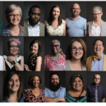 A version of the cover of Kyle Cassidy's book, This Is What A Librarian Looks Like . Over 20 photos of librarians photographed against a grey background.