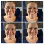 Naomi House four images of her face taken on a train, she is white and wearing a blue shirt
